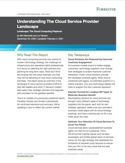 Featured image for Forrester - Understanding The Cloud Service Provider Landscape